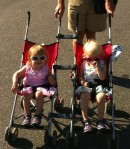 2 Umbrella Strollers attached with Munchkin Adapters